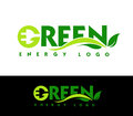 Green energy logo illustration drawing representing abstract made out of a leaf and an electric plug Stock Photography
