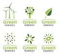 Green energy logo set Royalty Free Stock Photo