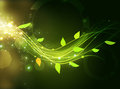 green energy waves with leaf Royalty Free Stock Photo