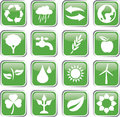 Green environment icon set square Royalty Free Stock Photos