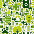 Green environment icons pattern background Royalty Free Stock Photography