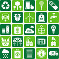 Green environment and recycle icons Stock Photos