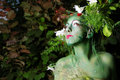 Green environmental face painting Stock Photography