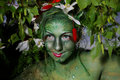 Green environmental face painting Stock Image