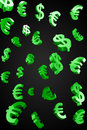 Green Evro and Dollar signs rain Royalty Free Stock Photo