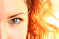 Green eye of a red-haired girl closeup Royalty Free Stock Photo