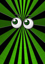 Green eyeballs on star burst background Stock Photo