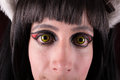 Green Eyes contact lenses woman portrait. Royalty Free Stock Photo