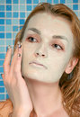Green face pack in shower Royalty Free Stock Photos