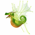 Green faerie dragon a creature of myth and fantasy the is a friendly animal with horns and wings Stock Image