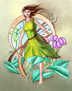 Green fairy cute hand painted illustration Royalty Free Stock Image