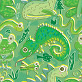 Green fauna flora seamless pattern eps illustration of and this file info version illustrator document inches width height Stock Image
