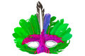 Green feather mask white background Royalty Free Stock Photography