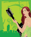 Green Female Guitarist Royalty Free Stock Photo