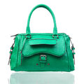 Green female handbag over white Stock Images