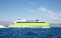 Green ferry spead boat on the greek islands. Royalty Free Stock Photo