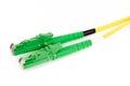 Green fiber optic E2000 connector Royalty Free Stock Photo