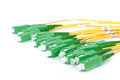 Green fiber optic sc connectors on white background Royalty Free Stock Images