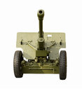 Green field artillery gun front view of russian mm zis at Stock Photography