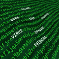Green field of cyber attack methods in code Stock Photography