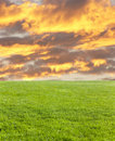 Green field and fire cloud Stock Photos