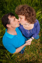 Green field kissing older mature senior couple Royalty Free Stock Photos