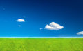 summer green lawn below blue sky Royalty Free Stock Photo