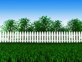 Green field and trees in garden d grow the meadow behind the white fence Royalty Free Stock Photos
