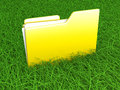 Green file data a folder in the grass d illustration Royalty Free Stock Image