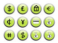Green financial icon buttons Royalty Free Stock Photos