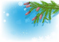 Green fir branches on blue snowflake background illustration with Royalty Free Stock Images