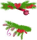 Green fir branches with cones and red berries illustration decorated isolated on white background Stock Images