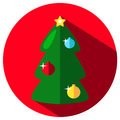 Green fir tree icon with colorful ornaments. Christmas or New Year stamp or logo with fir tree.