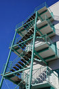 Green fire escape angle side Royalty Free Stock Image