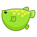 Green fish cute cartoon isolated illustration on white background Stock Photo