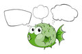 A green fish with empty callouts illustration of on white background Stock Image