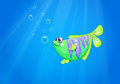 A green fish under the sea illustration of Royalty Free Stock Photography