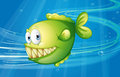A green fish under the sea illustration of Stock Photography