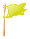 Green Flag On Wooden Stick
