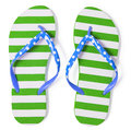 Green flip flops  on white with clipping path Royalty Free Stock Photo