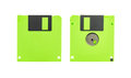 Green floppy disk front and back of a isolated on white background Stock Image