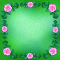 Green floral background framed by blooming roses image Royalty Free Stock Photos