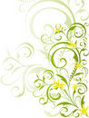 Green floral design with yellow flowers Stock Photos