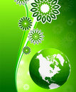 Green floral wave background with Globe Stock Image