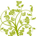Green flower and vines pattern Royalty Free Stock Images