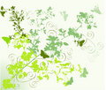 Green flowers and butterflies Royalty Free Stock Photo