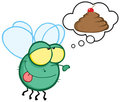 Green fly flying and dreaming about a poop cake Stock Photos