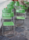 Green folding chair in the temple Stock Photography