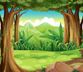 A green forest across the high mountains illustration of Royalty Free Stock Photography