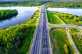 Green forest and asphalt road from above Royalty Free Stock Photo